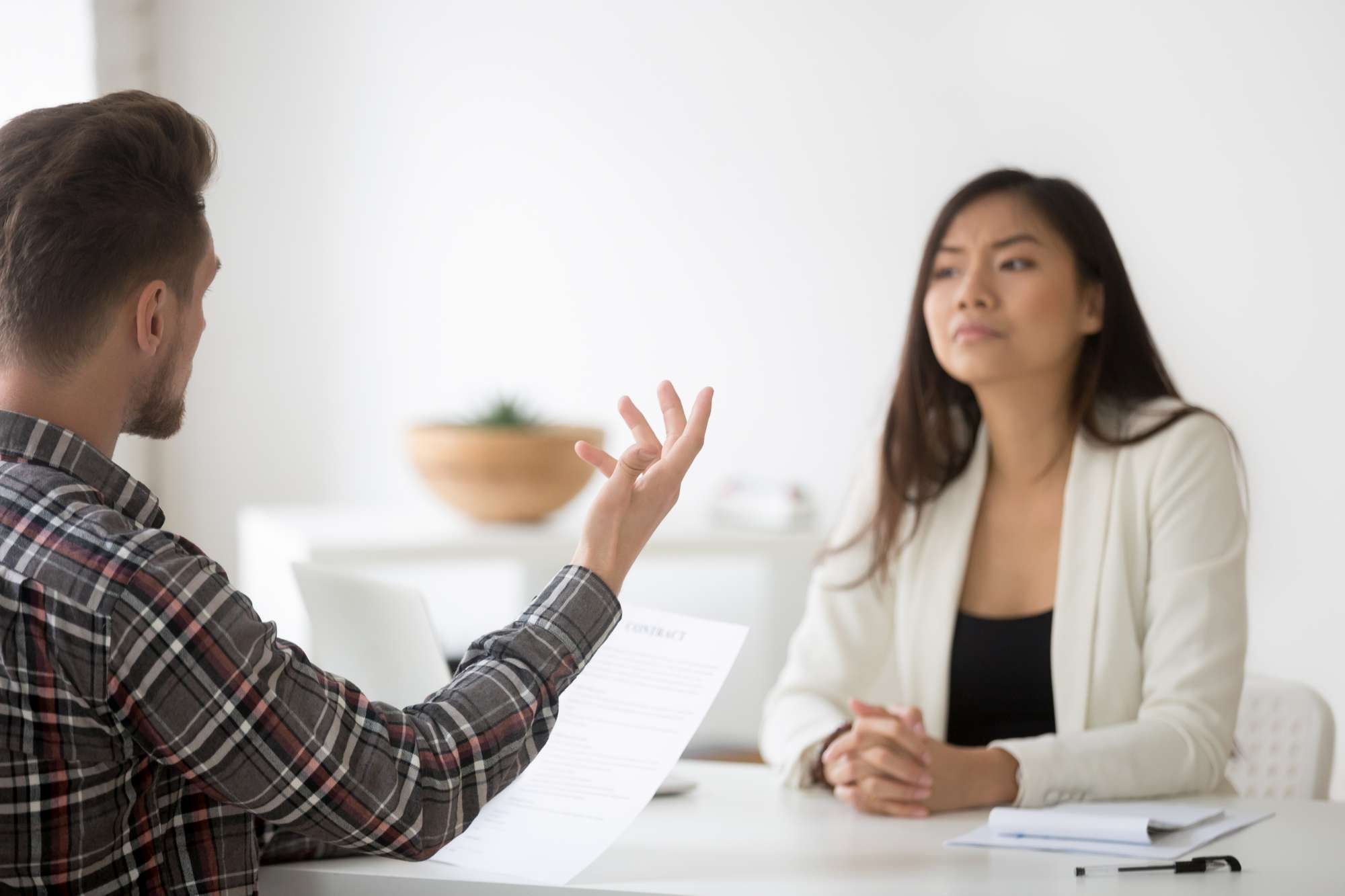 Angry client complaining on bad contract fraud meeting asian law